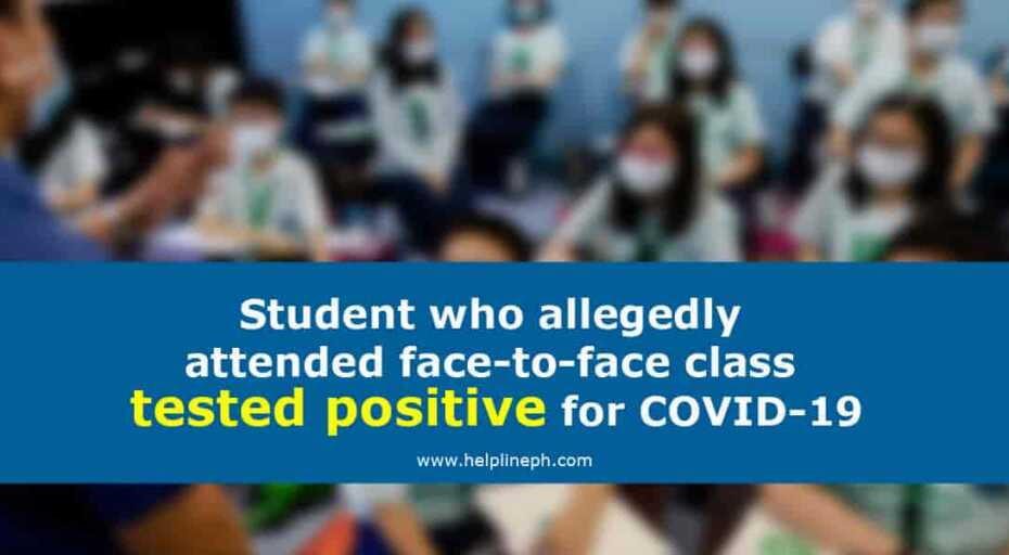 attended face-to-face class tested positive for COVID-19