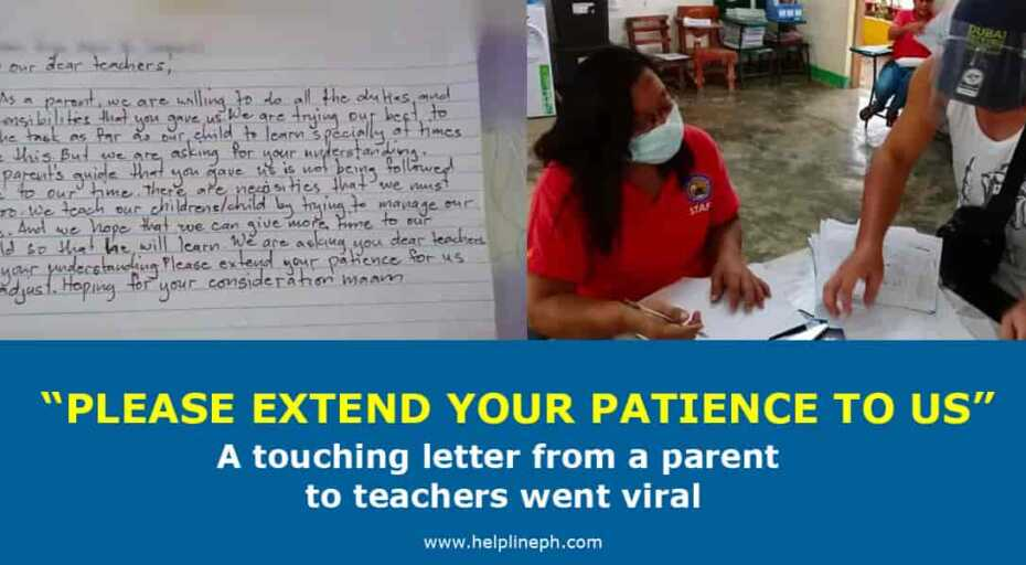 A touching letter from a parent to teachers
