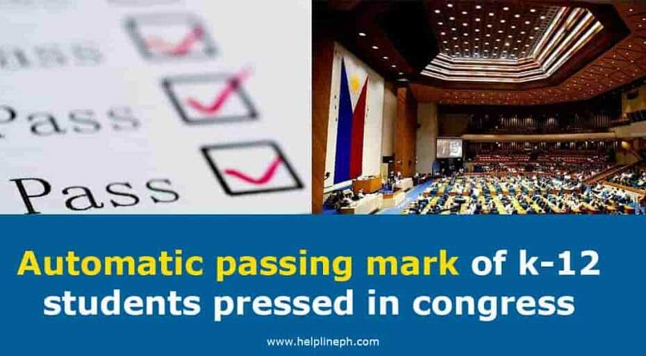 Automatic passing mark of k-12 students