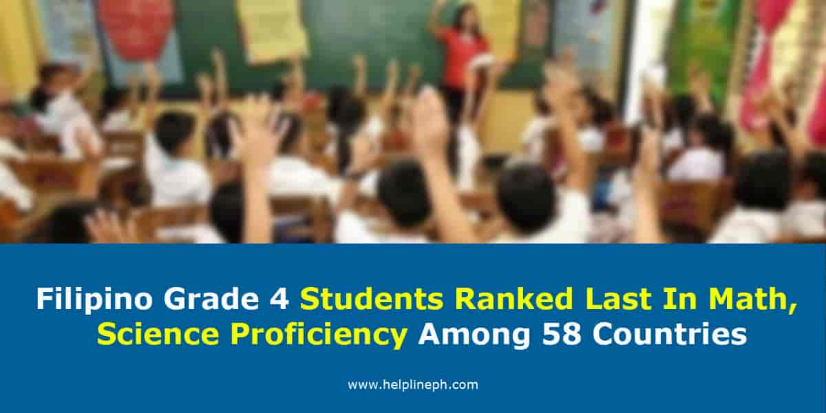 Filipino Grade 4 students worst in math and science proficiency