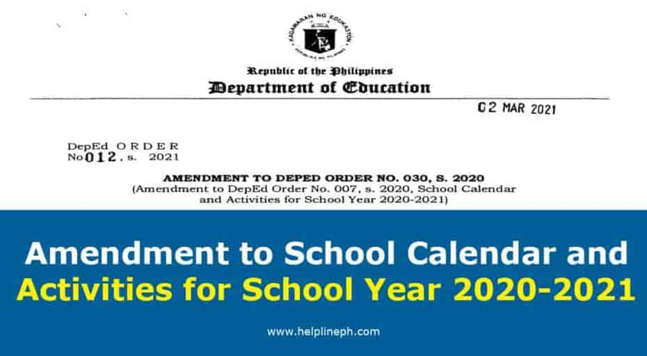 Amendment to School Calendar and Activities for School Year 2020-2021