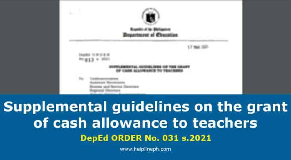 Supplemental guidelines on the grant of cash allowance to teachers