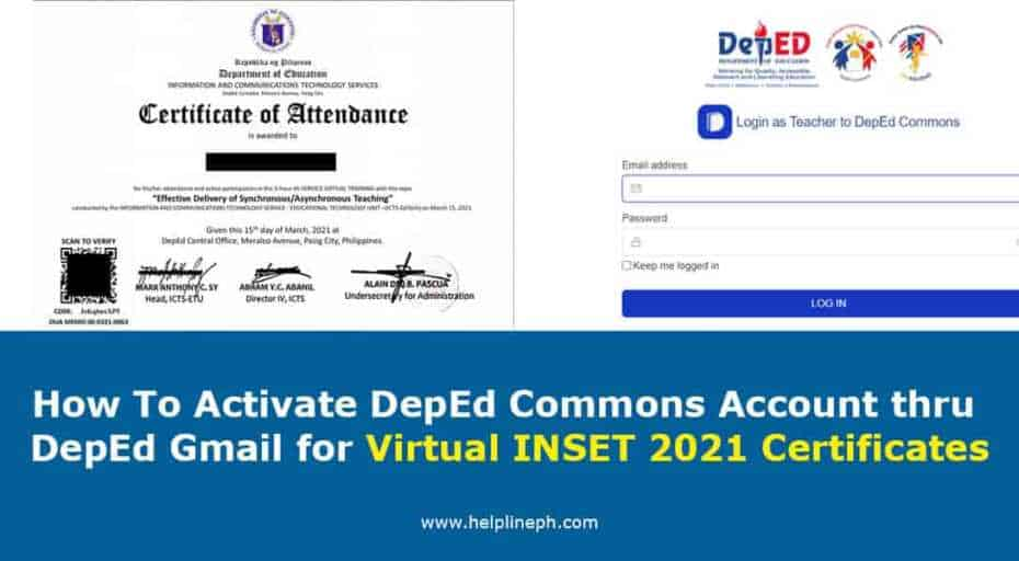 Activate DepEd Commons Account thru DepEd Gmail for Virtual INSET 2021 Certificates