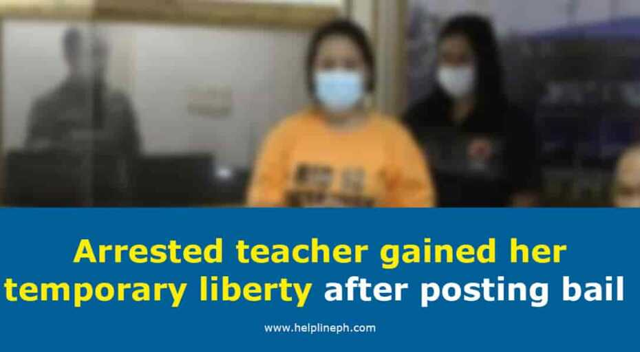 Arrested teacher gained her temporary liberty after posting bail