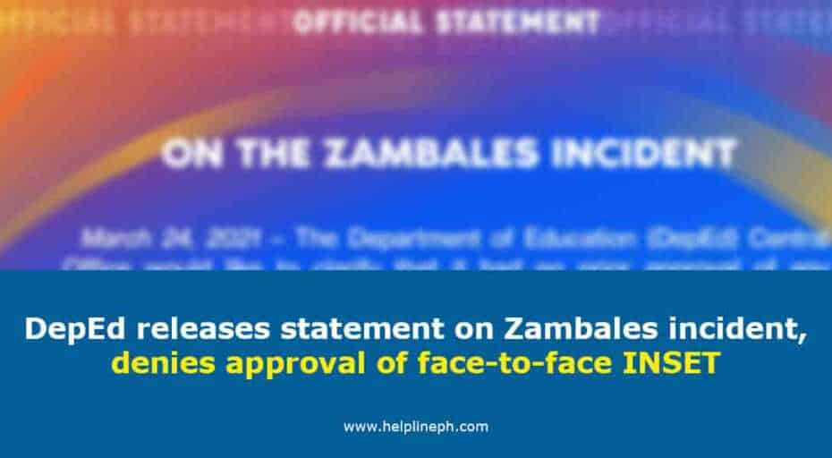 DepEd releases statement on Zambales incident