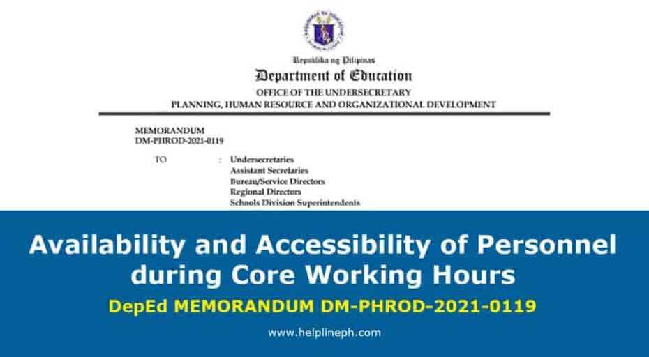 Availability and Accessibility of Personnel during Core Working Hours memo