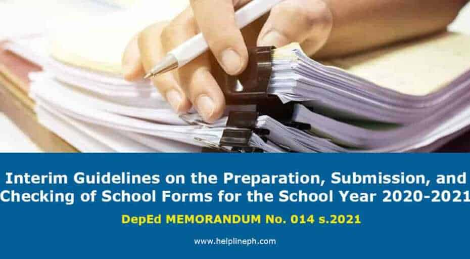 Checking of School Forms for the School Year 2020-2021