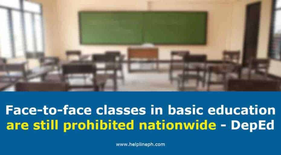 Face-to-face classes in basic education