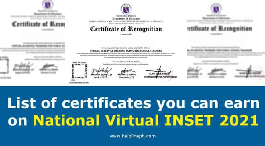 List of certificates you can earn on National Virtual INSET 2021