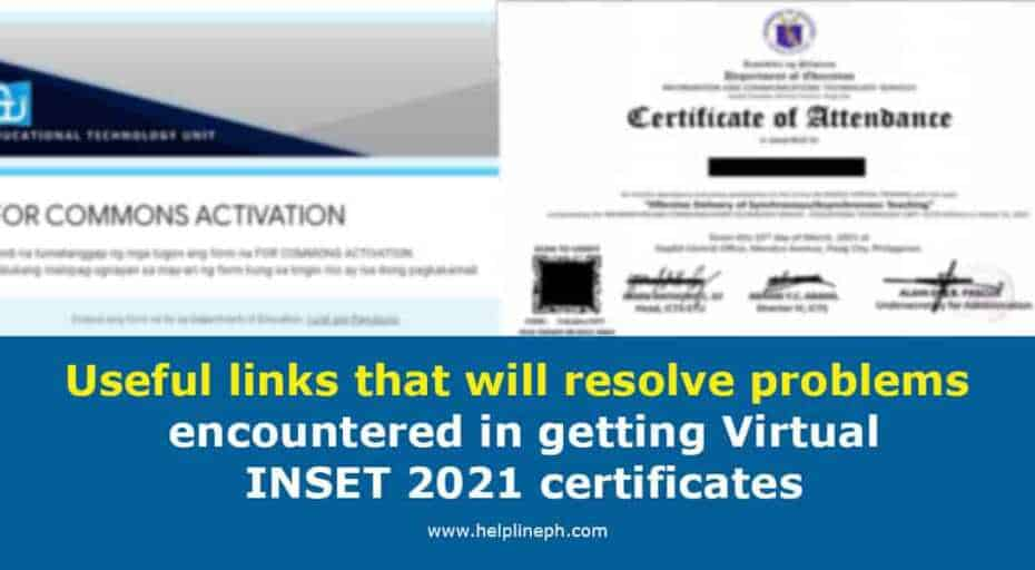 Useful links that will resolve problems encountered in getting Virtual INSET 2021 certificates