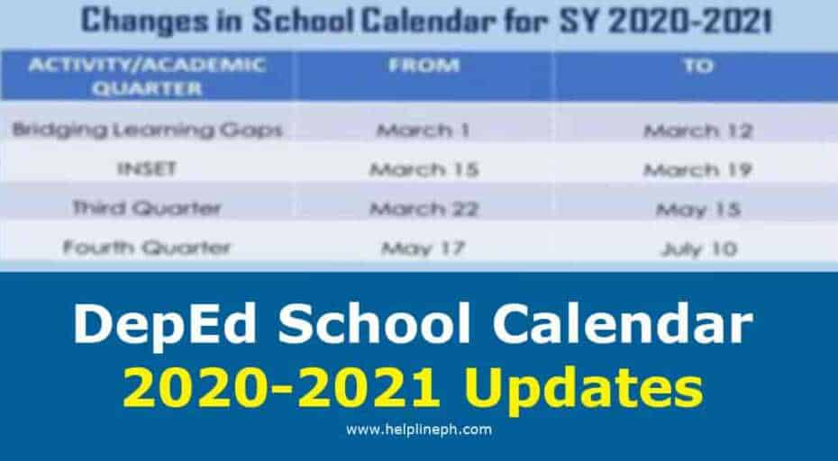 DepEd School Calendar 2020-2021 Updates