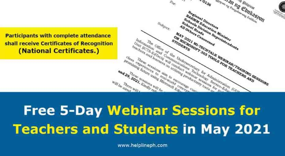 Webinar Sessions for Teachers and Students