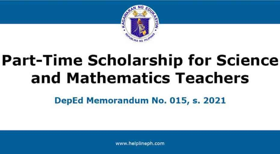 Part-Time Scholarship for Science and Mathematics Teachers