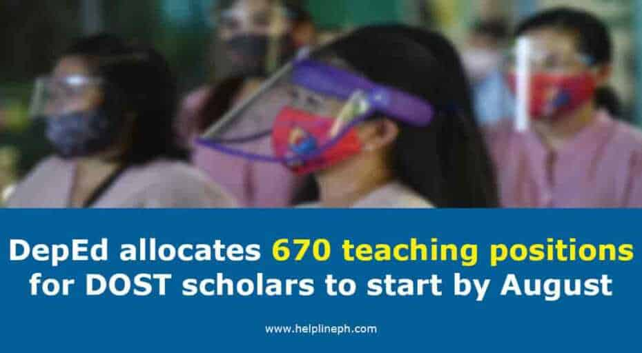 670 teaching positions for DOST scholars