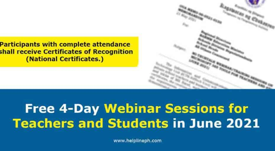 Webinar Sessions for Teachers and Students in June 2021