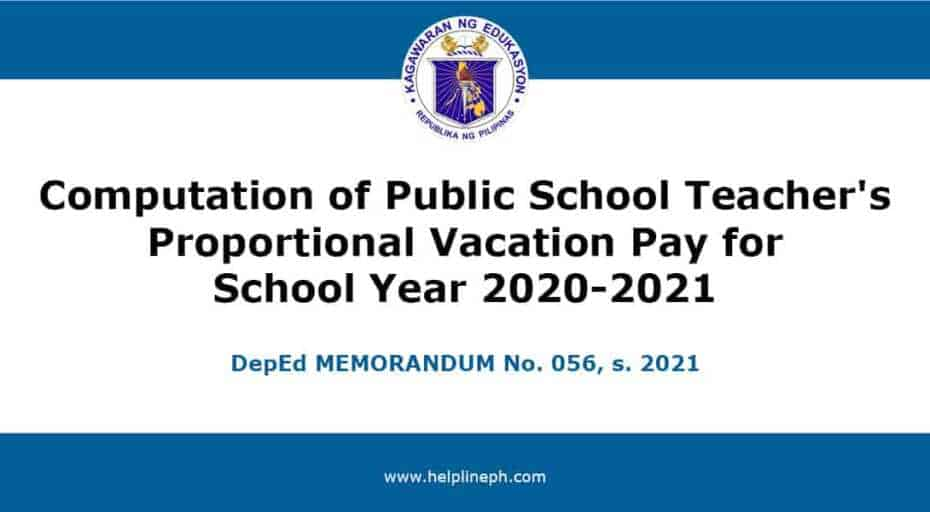Computation of Public School Teacher's Proportional Vacation Pay