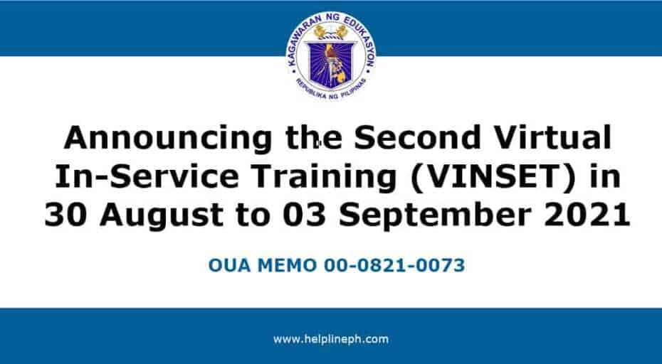 Second Virtual In-Service Training 2021
