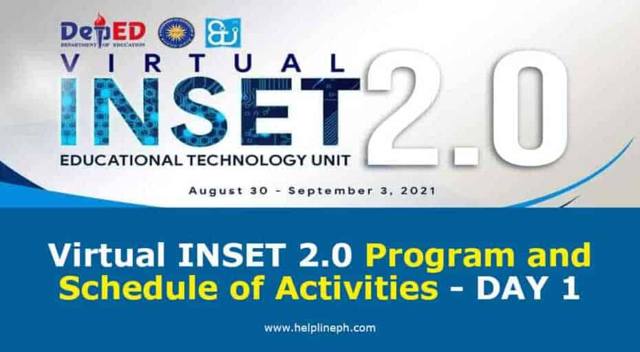 Virtual INSET 2.0 Program and Schedule of Activities - DAY 1
