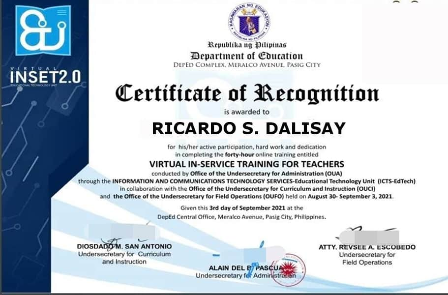certificate of recognition