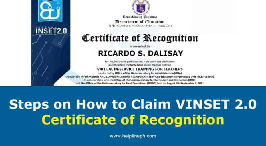 VINSET 2.0 Certificate of Recognition