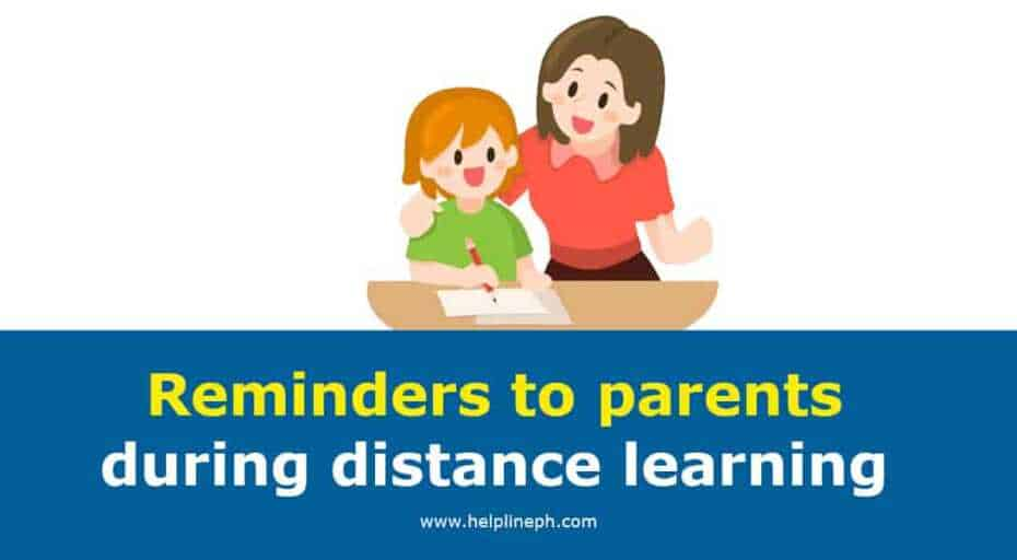 Reminders to parents during distance learning