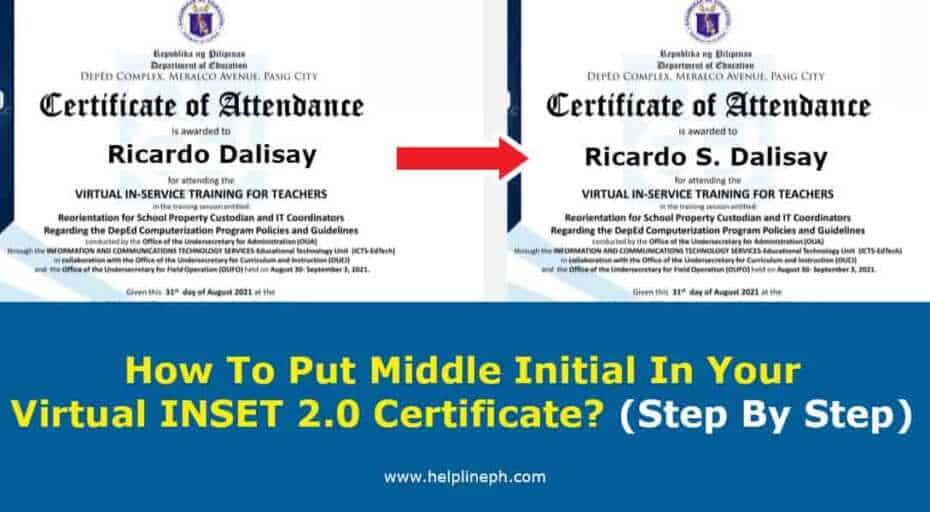 How To Put Middle Initial In Your Virtual INSET 2.0 Certificate